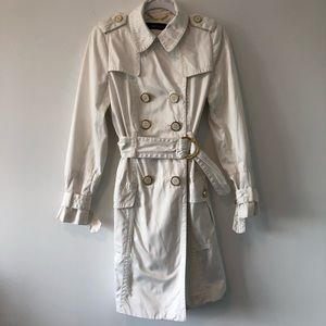 ZARA | White Trench Coat with Gold Details